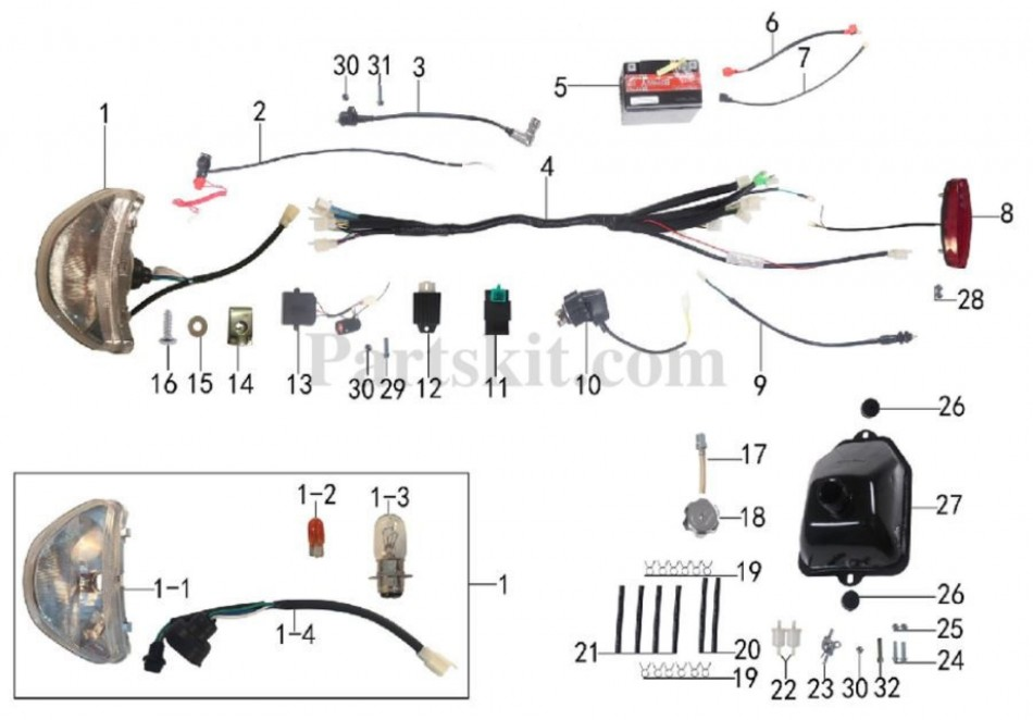 electric and gaz system parts for atv taotao ata 110 b  -vtt lachute
