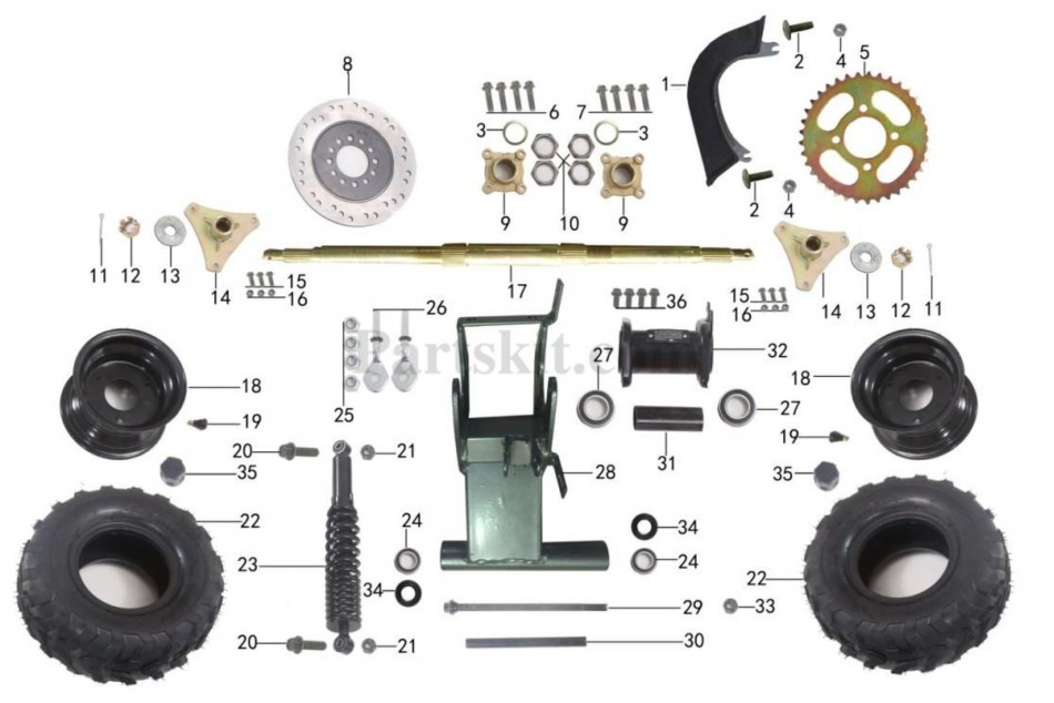 rear suspension parts for atv taotao ata 110 b -vtt lachute