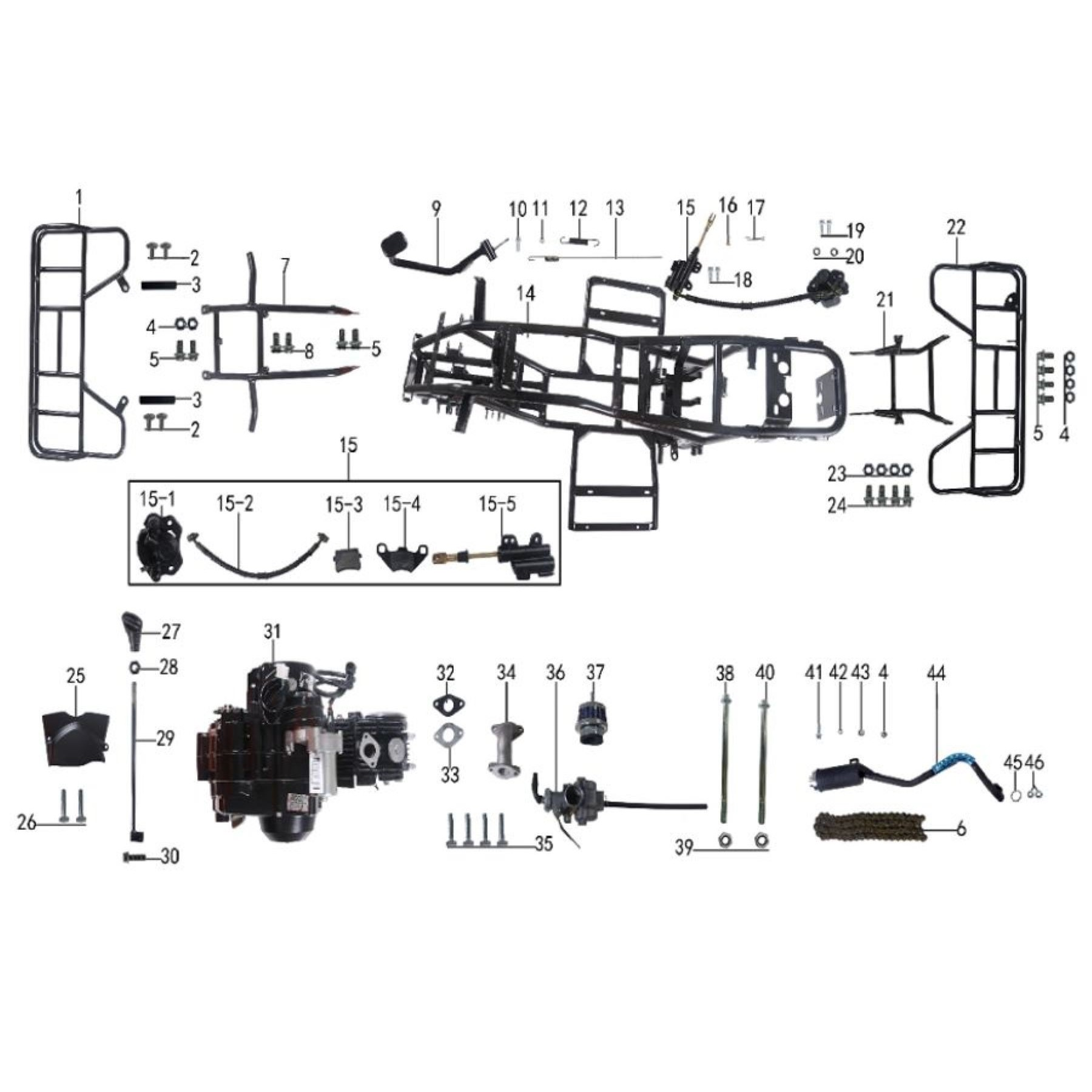 parts of frame ,engine and brake for atv taotao  t-force -vtt lachute