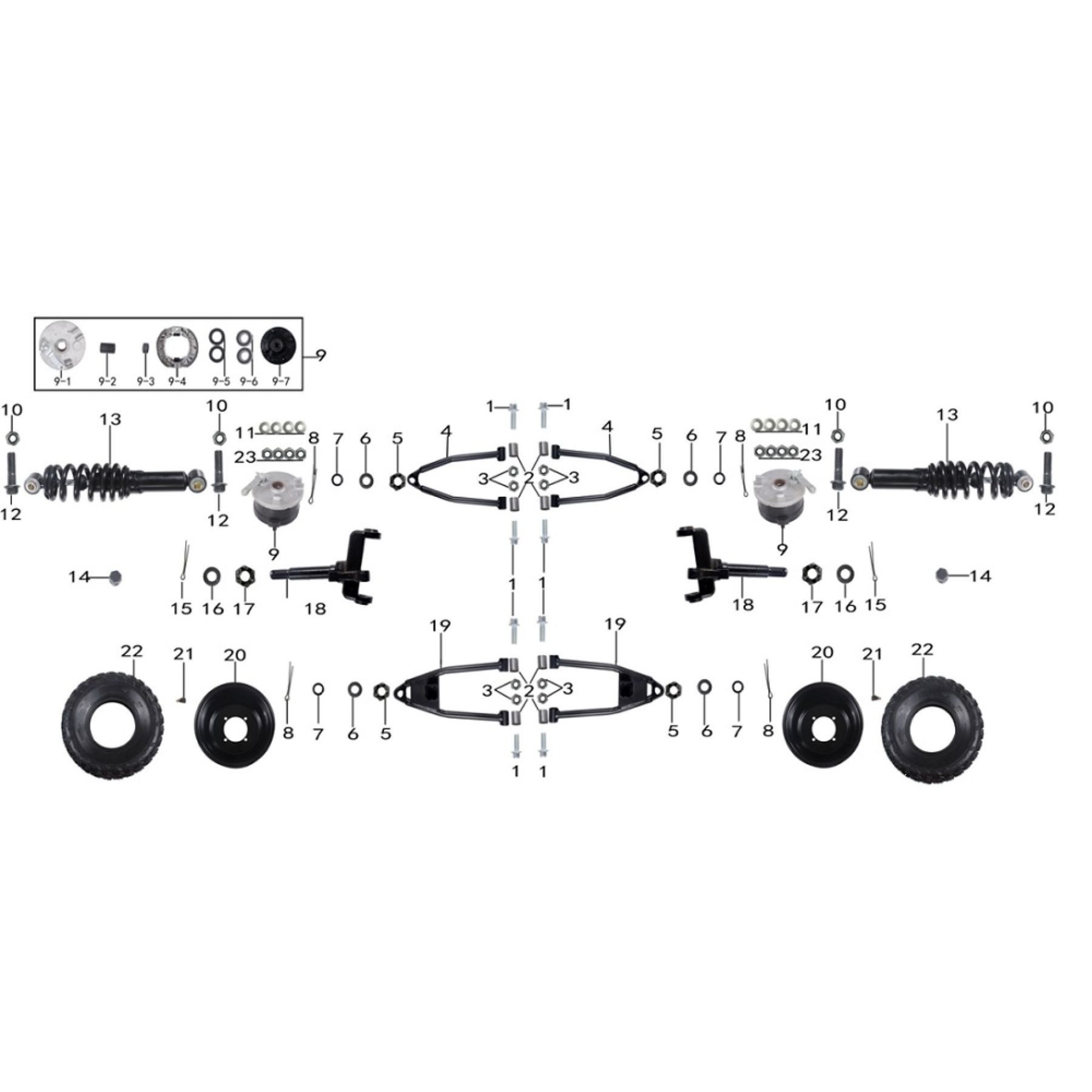 front and suspension parts for atv taotao 150 G -vtt lachute