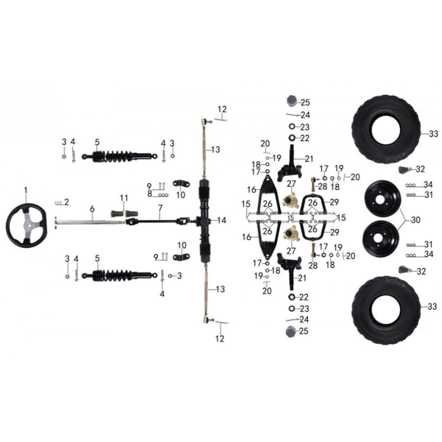 front suspension and steering system for atk 125cc-vtt lachute