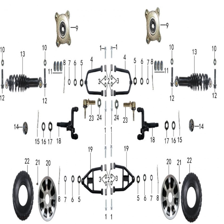 Parts for front suspension of atv TAOTAO BULL 200 - VTT LACHUTE