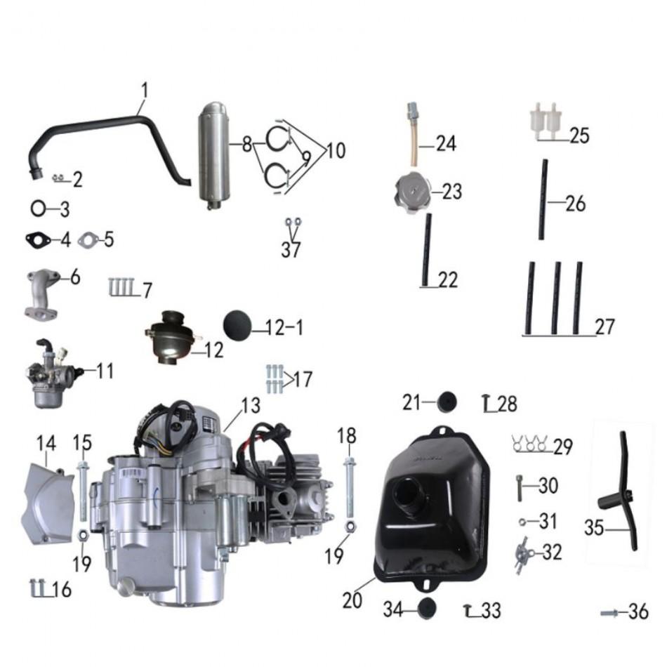 engine and gaz system for atv taotao rex - VTT LACHUTE
