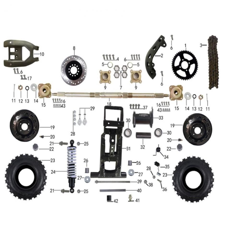 parts for rear suspension of atv taotao rex - VTT LACHUTE