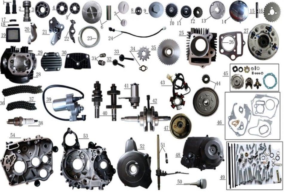engine parts 125cc  for atv taotao T-FORCE - VTT LACHUTE
